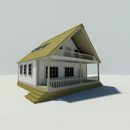 House on white background  Created in 3D  photo