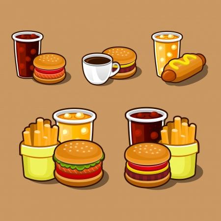 chinese fast food: Conjunto de coloridos dibujos animados iconos de comida r�pida Vectores