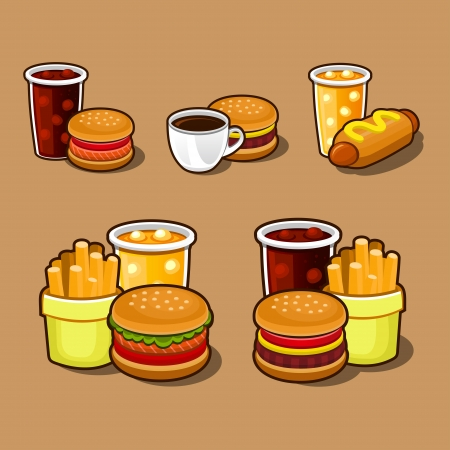 french fries: Set of colorful cartoon fast food icons  Illustration