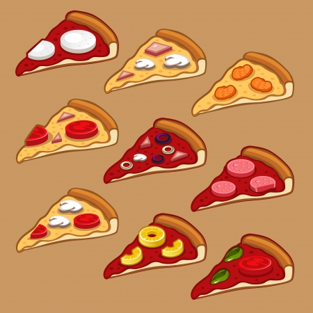 pepperoni: Pizza icon set