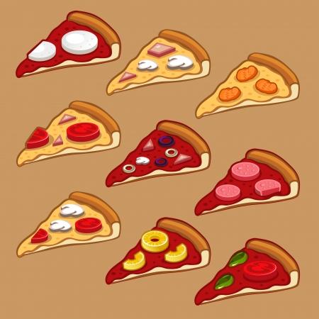 onion slice: Pizza icon set