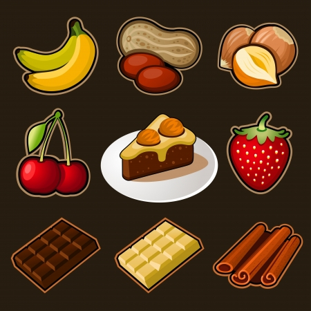 Chocolate icons set Vector