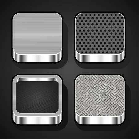 Set of metal textures for mobile apps Stock Vector - 21384213