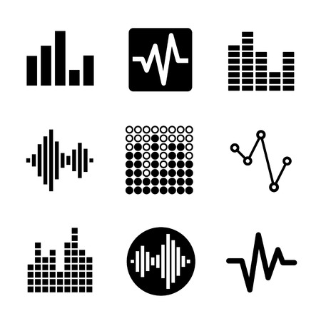 sound mixer: Music soundwave equalizer graphics icons set. Vector.
