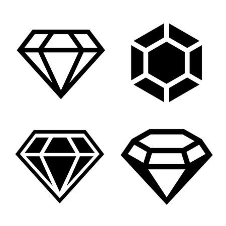 coeur diamant: Icônes vectorielles diamant serti. Forme claire facile. Vector. Banque d'images
