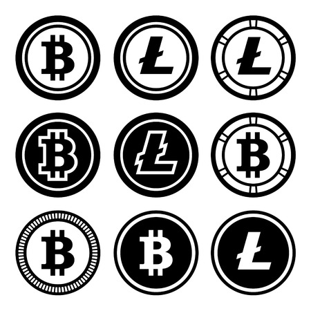 debt collection: Bitcoin and litecoin icons set. Stock Photo