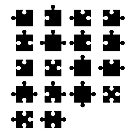 puzzles pieces: Jigsaw puzzle blank parts constructor. All possible parts.