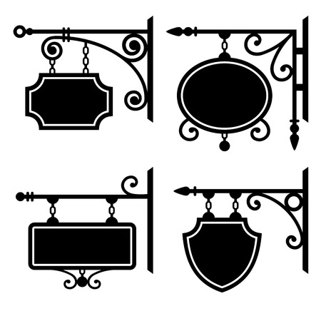 ad sign: Set of retro graphic forged signboards.