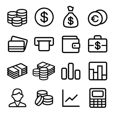 coin purses: Money and coin icon set Stock Photo