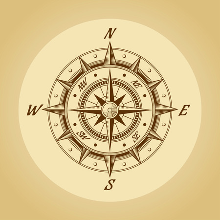 world globe map: Wind rose in old retro style. Vector.