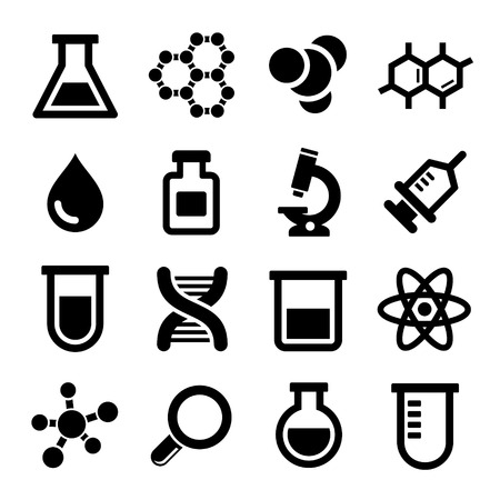 beaker: Chemical icons set on white background. Vector. Stock Photo