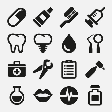 dental floss: Dental icons set