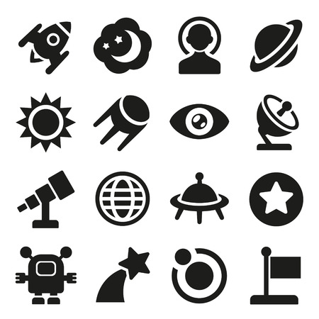 Space icons set photo