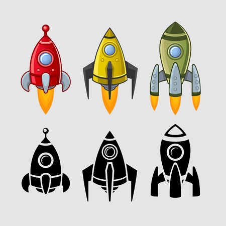 martians: Spaceships set color and black