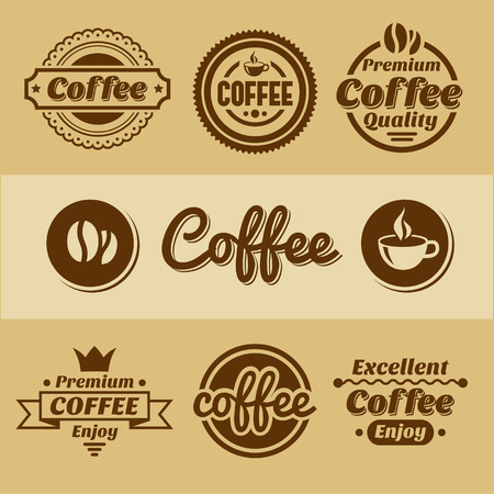 bakery shop: Coffee labels and badges. Retro style coffee vintage collection.