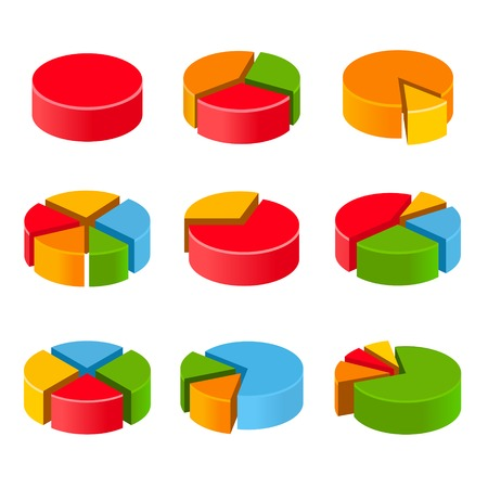 Segmented and multicolored pie charts set photo