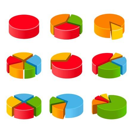 segmented: Segmented and multicolored pie charts set