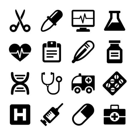 medical icons: Medical icons set on white background. Vector.