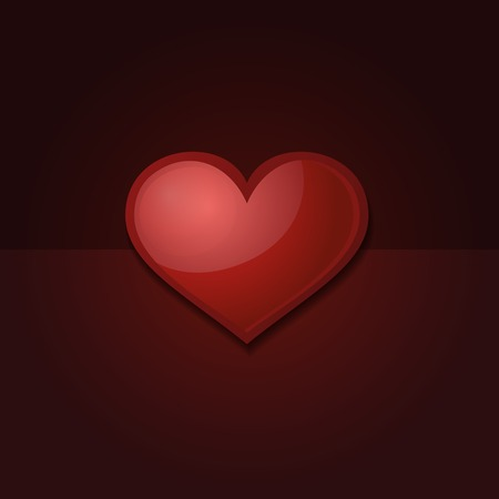 Valentines day card with heart. Black background with red heart. photo