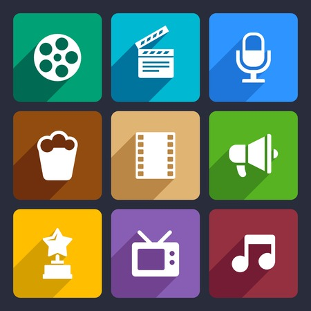 entertainment graphics: Movie Infographic flat icons set  for Web and Mobile Applications Stock Photo