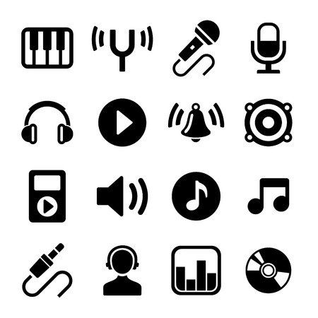 Music Icons Set on White Background. Vector. photo