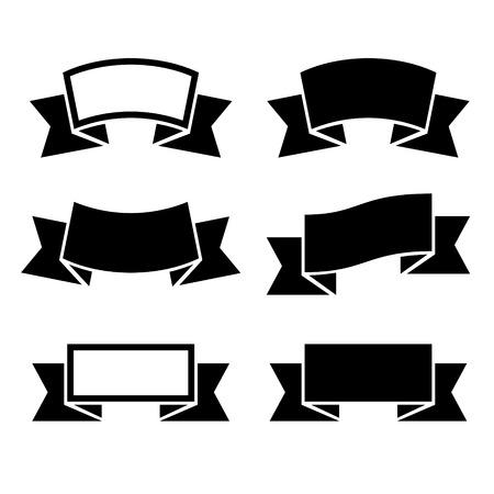 ruban noir: Rubans noirs icons set sur fond blanc. Vector. Banque d'images