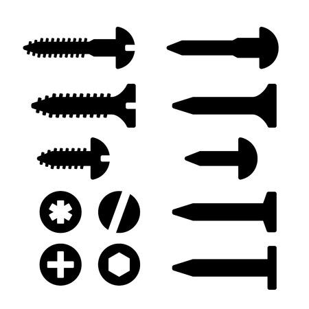 tuercas y tornillos: Tornillos, tuercas y clavos iconos conjunto. Vector silueta