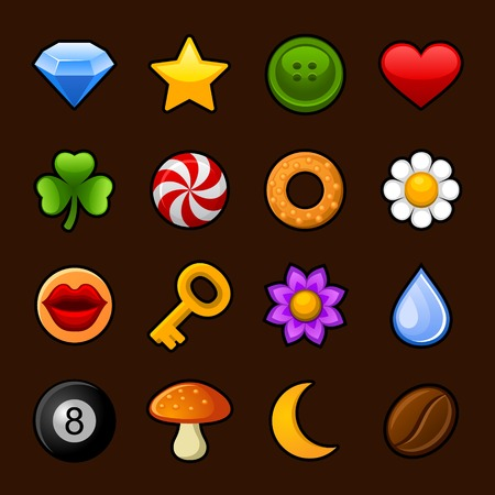 button mushroom: Icons set for girls games