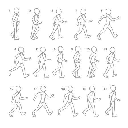 animations: Phases of Step Movements Man in Walking Sequence for Game Animation.