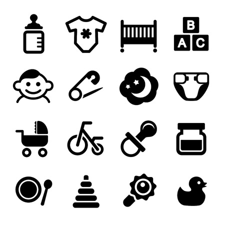 newborn footprint: Baby icon set  for Web and Mobile Applications