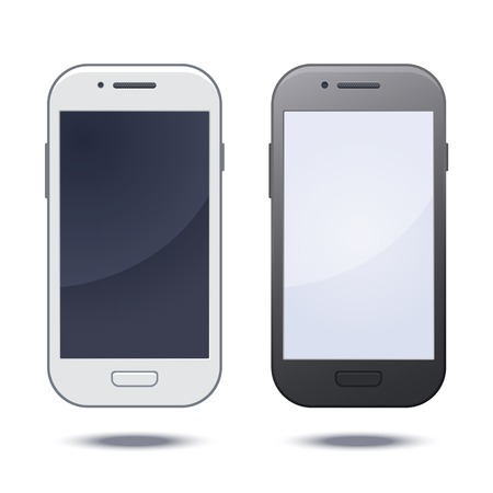 Realistic black mobile phone with blank screen. Vector photo