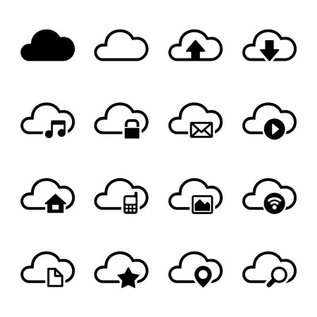 storage: Cloud Storage Computer Icons Set on White Background. Vector.