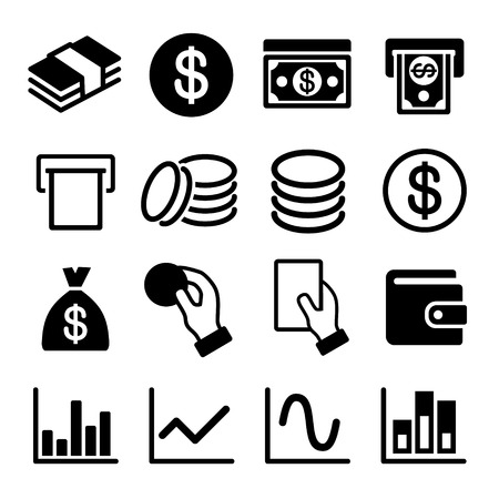 financial item: Money and business icon set. Vector illustration.