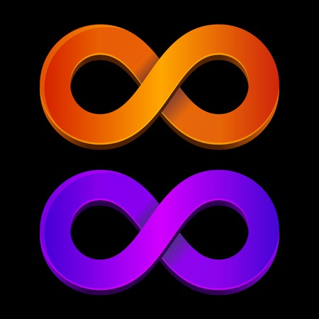 Abstract infinity orange and blue sign. Vector. photo