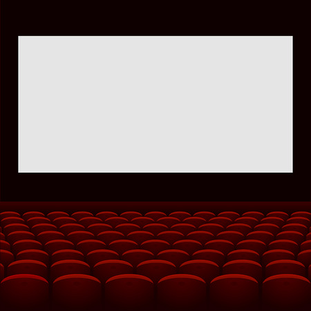 Cinema theatre with screen and seats. Vector. photo