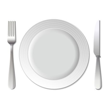 place setting: Dinner plate, knife and fork on white background. Stock Photo