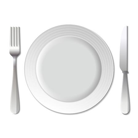 dinner plate: Dinner plate, knife and fork on white background. Stock Photo