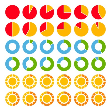 segmented: Set of brightly colored pie charts.