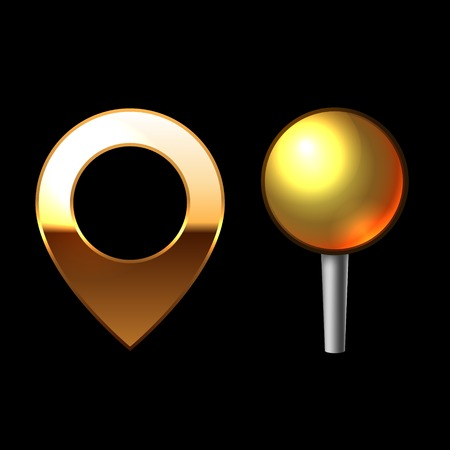 Gold Mapping Pins Set. Metal round shape with color reflection on black background photo
