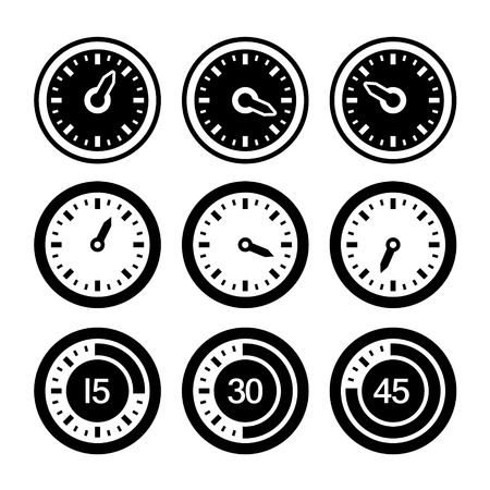 odometer: Dial and Timers Icons Set Stock Photo