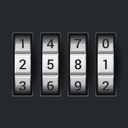 combinations: Combination lock number code. on dark background Stock Photo
