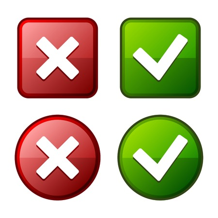 poll: Glossy Check Mark Stickers and Buttons. Red and Green.
