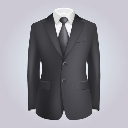 black tie: Male Clothing Dark Suit with Tie. Vector Illustration
