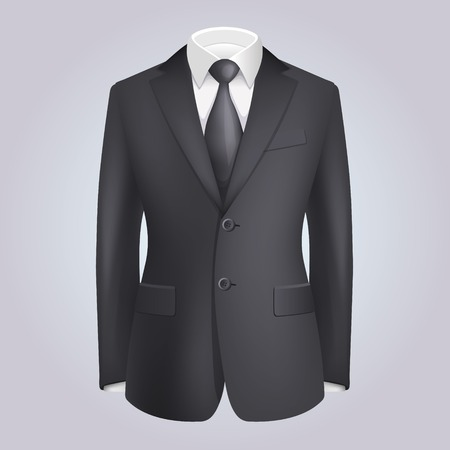 tailor suit: Male Clothing Dark Suit with Tie. Stock Photo