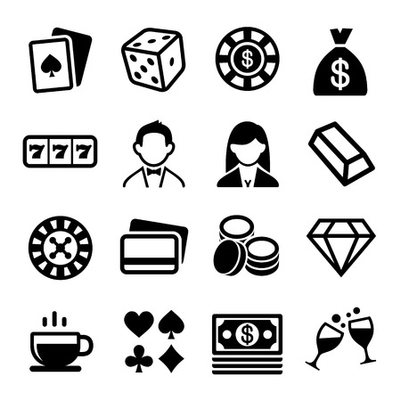 hotel casino: Gambling and Casino Icons Set. Stock Photo