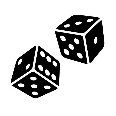 dados: Dos cubos de los dados Negro sobre fondo blanco. Ilustraciones vectoriales Foto de archivo