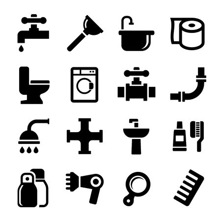 heater: Bathroom Icons Set on White Background. Vector Illustration