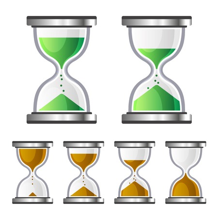 sand timer: Sand Clock Glass Timer Icons on White Background. Vector illustration Stock Photo