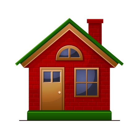 small town life: House icon isolated on white background. Stock Photo