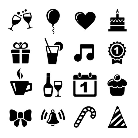 cupcake illustration: Party and Celebration icon collection - vector silhouette illustration